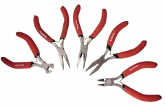 5pc Precision Pliers Set: Bent, Flat, Long Nose, Diagonal & End Cut