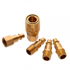 "5pc Solid Brass Quick Coupler Set Air Hose Connect Fitting 1/4"" NPT Female Male Plug"